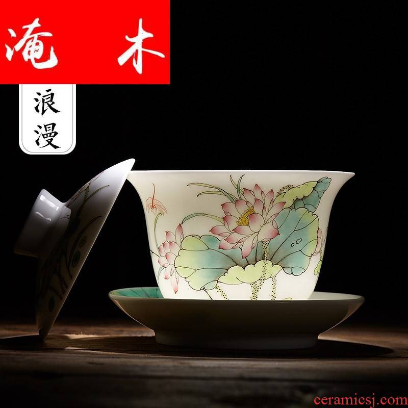Flooded the wooden package mail tureen large jingdezhen ceramic tea cup tea tureen hand - made pastel lotus three only