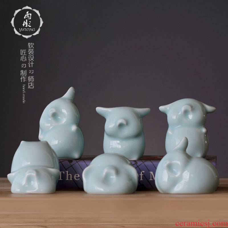 Jingdezhen shadow green home home room bedroom adornment family, lovely cartoon creative ceramics furnishing articles suit a pig