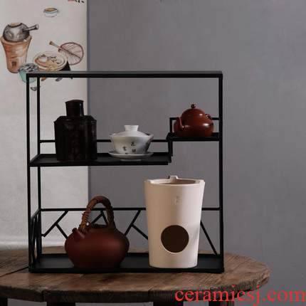 It rich ancient frame tea rack desktop, wrought iron stupa pavilion tea cups, receive the teapot tea set the display shelf