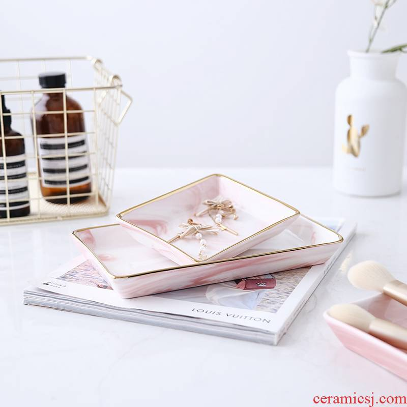 Nordic marble paint to receive a disc ceramic jewelry plate posed props bathroom vanity tray sundry plate