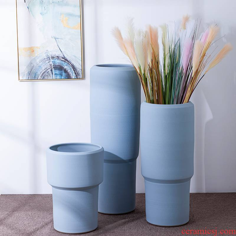 Green, the plants of large diameter Nordic blue porcelain vase flowerpot I and contracted indoor plant decoration cylinder water jugs