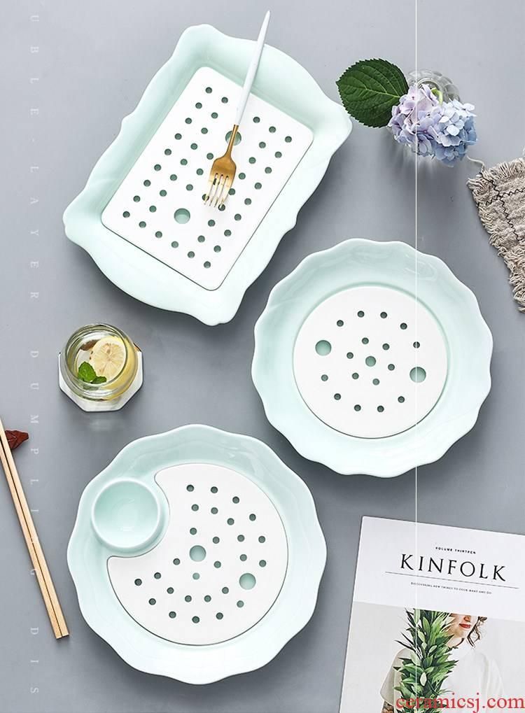 Vinegar dumplings dish drop ceramic double disc home plate number dumpling dish of creative fruit dish dish plate