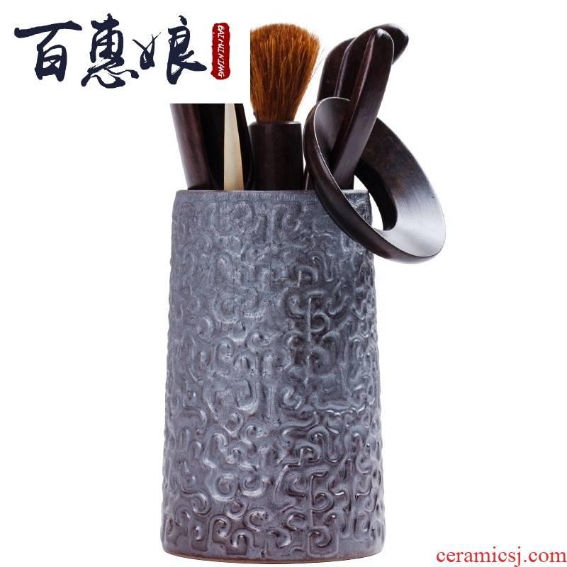 (niang ebony tea six gentleman 's suit cylinders with pen anaglyph up ceramic tea tea set spare parts