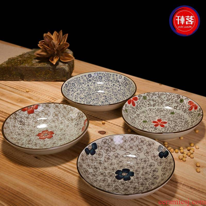 The Japanese kitchen under The glaze color tableware ceramic plate steak plate hotel creative west pot dish dish with fish dish
