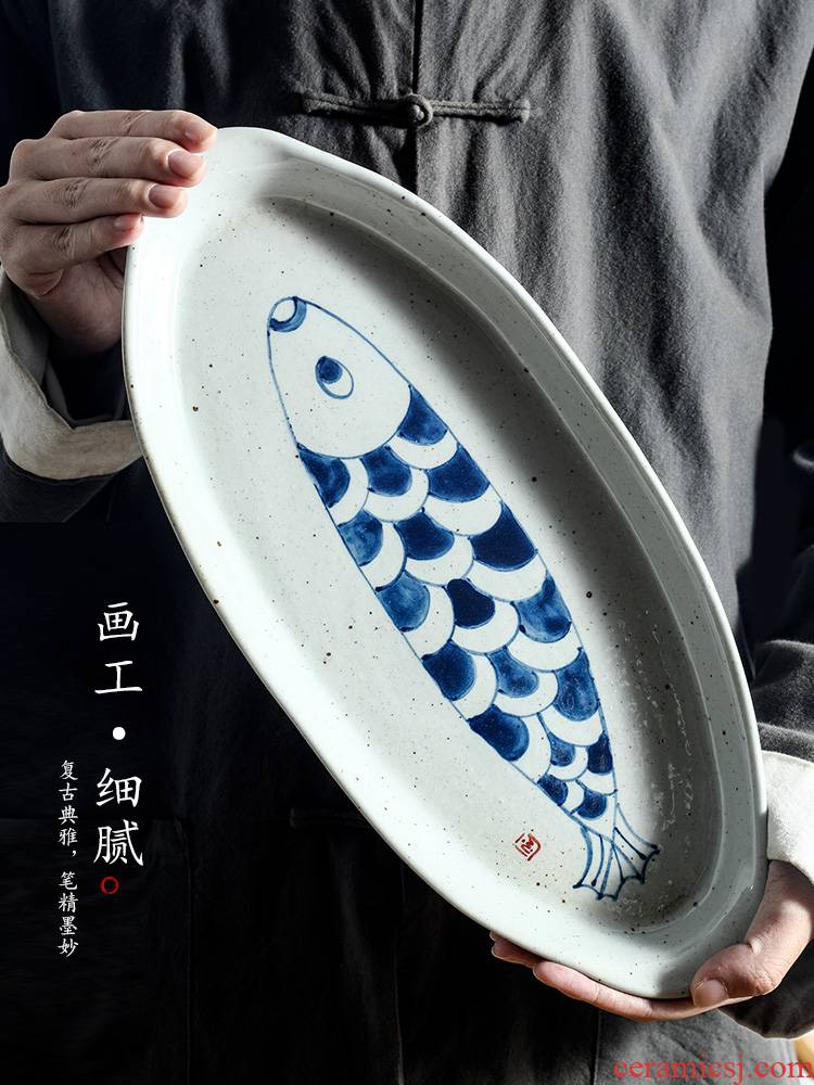 Jingdezhen porcelain tea tray was checking pot of bearing dry Taiwan Japanese ancient ceramic tea bearing hand - made large fish dishes