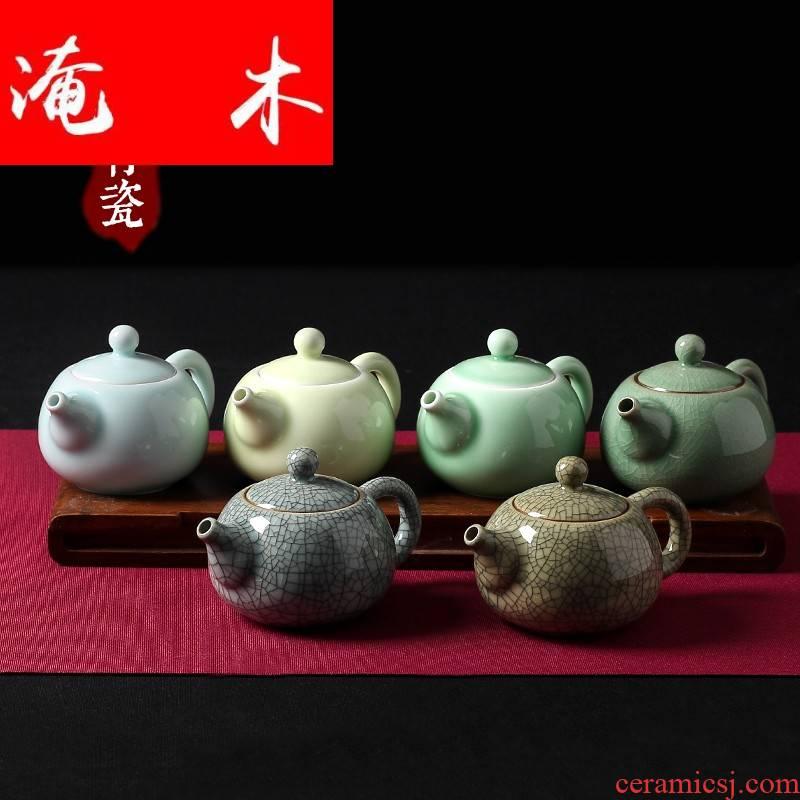Submerged wood for celadon longquan little teapot ice crack glaze single pot of purple sand pottery and porcelain kung fu tea set filter xi shi pot of the teapot