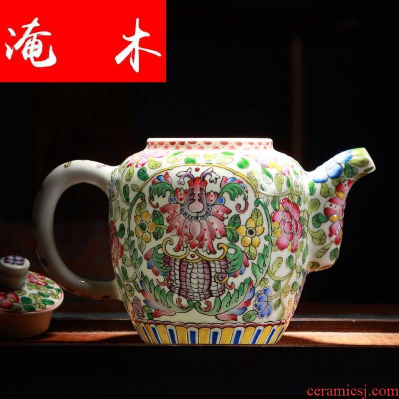 Flooded jingdezhen wood powder enamel hand - made m letters flowers filtering household kung fu tea colored enamel porcelain tea tea