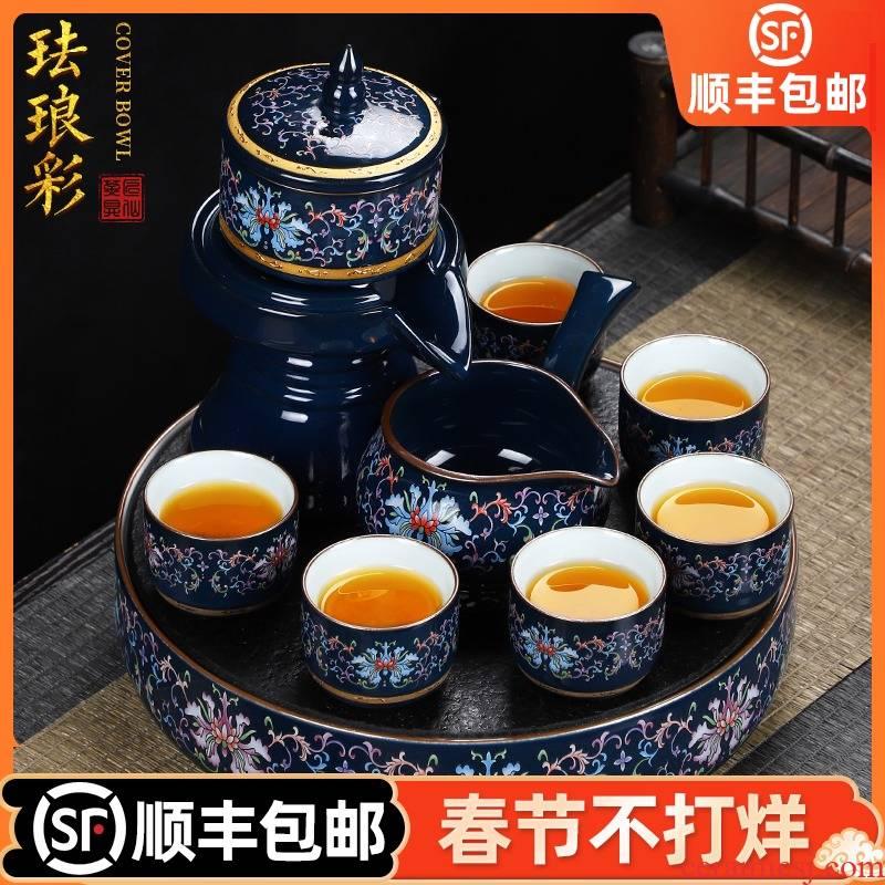 Artisan fairy tea set ceramic enamel household pure manual of a complete set of kung fu tea tureen teapot tea tray