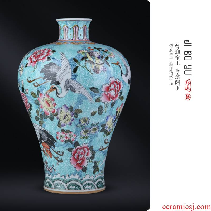 Jingdezhen ceramic antique hand - made gathers up little fairy cranes vase Chinese style living room a study teahouse decoration as furnishing articles