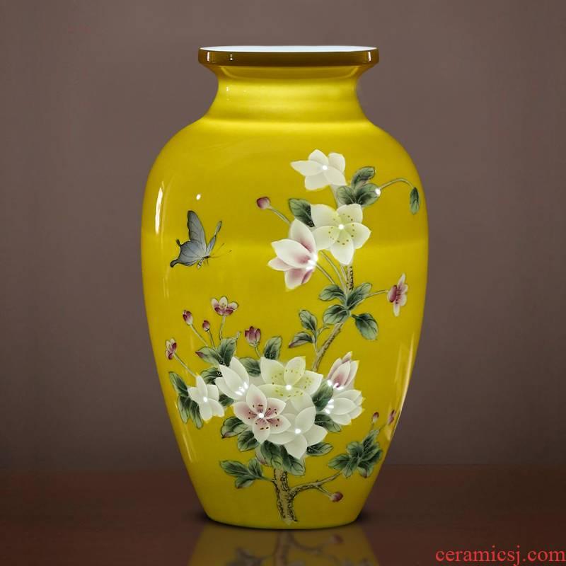 Jingdezhen ceramics imperial yellow hand made exquisite thin foetus vase furnishing articles I household adornment TV ark