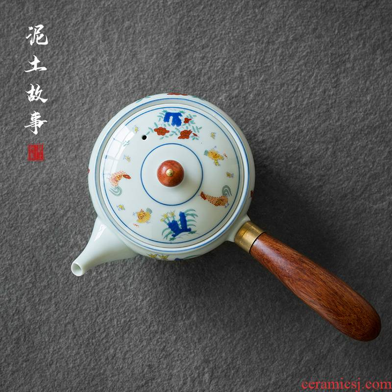 Jingdezhen hand - made Japanese kung fu tea set archaize chenghua the chicken cylinder cup side color maker filter ceramic cups