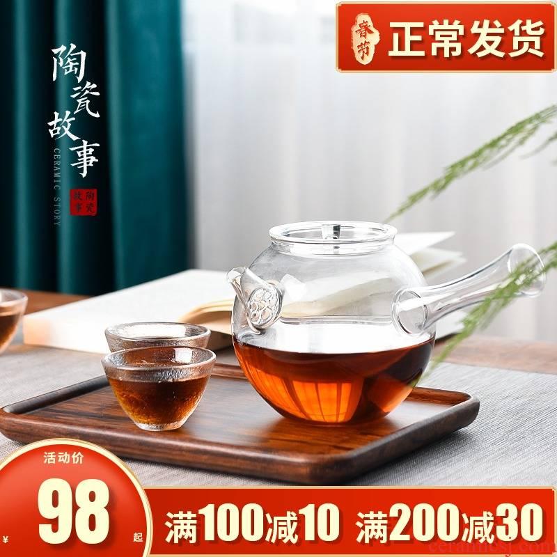 Ceramic story lateral boil glass teapot small electric cooking TaoLu kung fu tea machine'm the teapot tea tea set