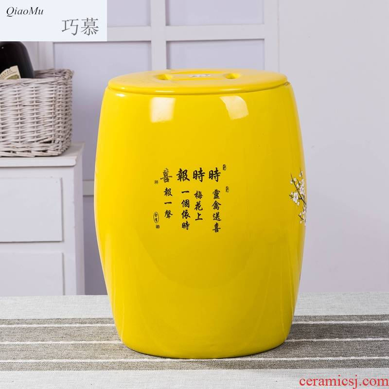 Qiao mu barrel jingdezhen ceramics with cover feng shui home 20 jins 50 kg to moistureproof insect - resistant flour rice storage box