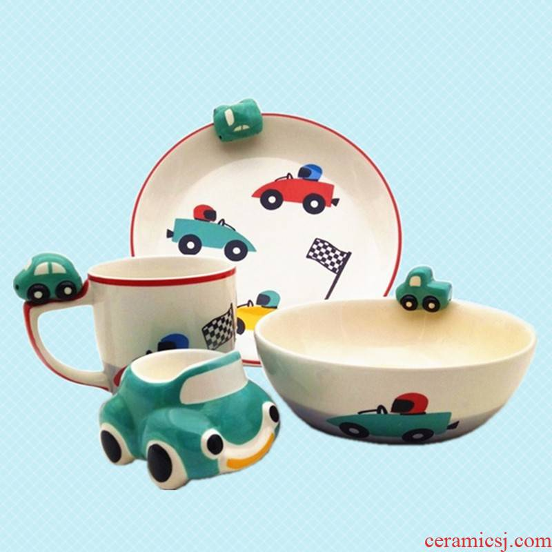 Thailand imported ceramic tableware children car glass mugs bowl dish children gifts