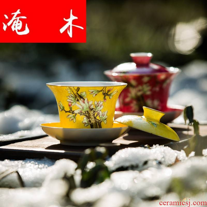 Flooded wooden pick flowers tureen pastel hand - made tea only three bowl of jingdezhen way tea tree