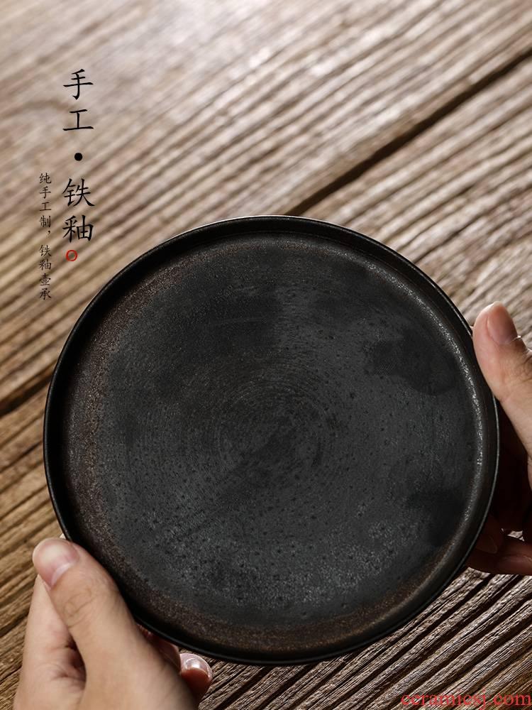 Pure manual color glazed pot of bearing dry terms Taiwan jingdezhen ceramic tea tray mat saving kettle kung fu tea accessories