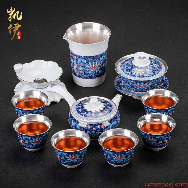 Silver enamel lotus up riches and honour flowers coppering. As kung fu tea sets tea pot lid bowl of jingdezhen ceramic tea set