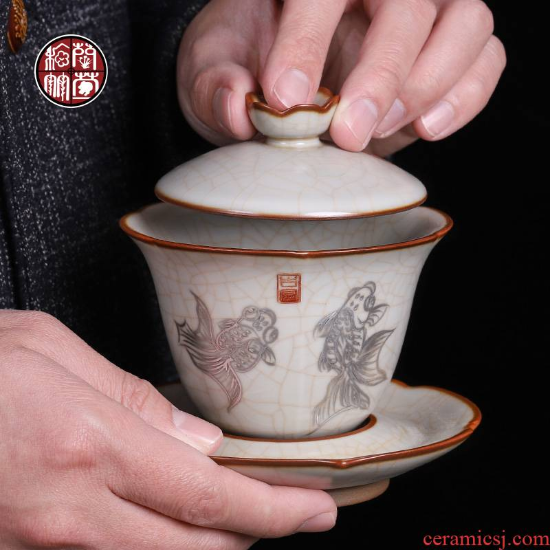Open the slice your up tureen single pure manual large kunfu tea cups three bowl of archaize ceramic hand - made tea bowl