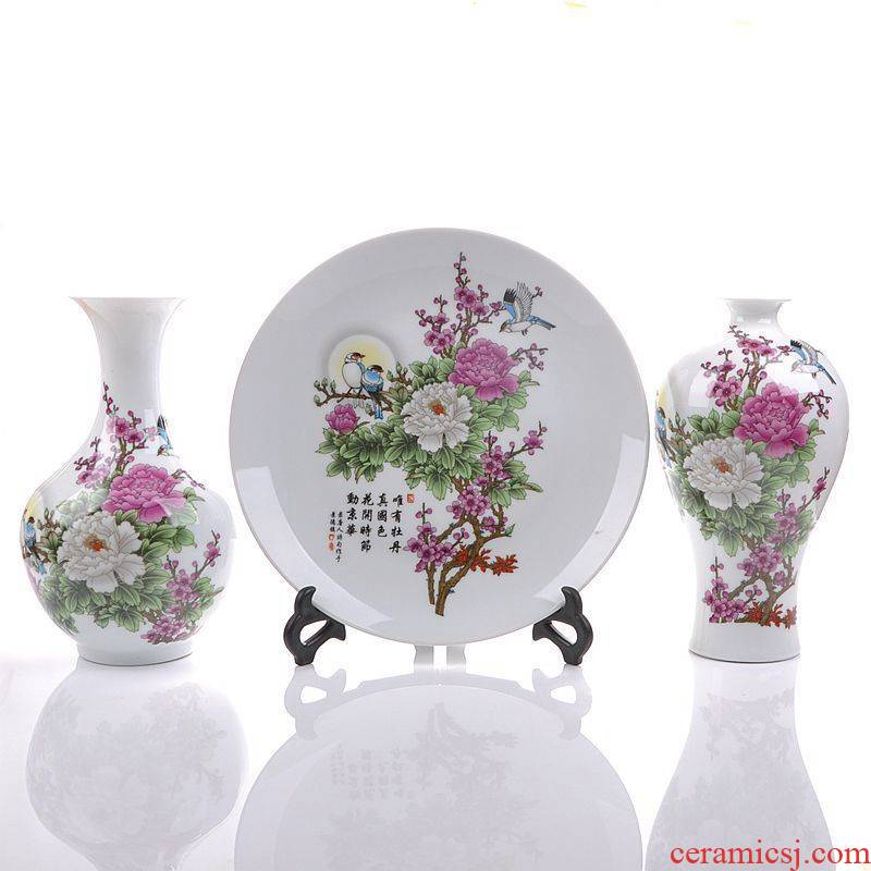 Jingdezhen ceramics peach blossom put water point three - piece vase plates modern living room home act the role ofing handicraft furnishing articles