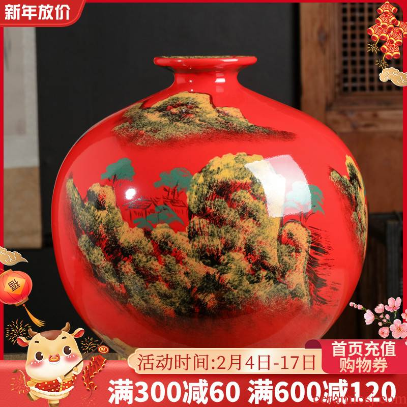 Jingdezhen ceramics China red vase hand - made decorations red pomegranate bottle of large sitting room office furnishing articles