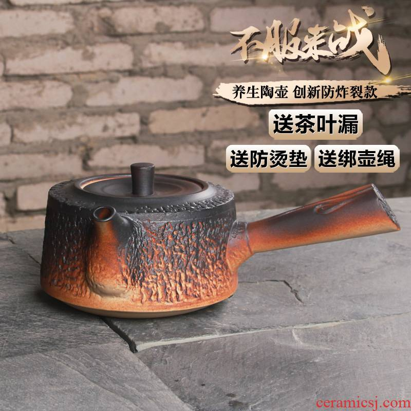 Inflammation of grain to coarse pottery clay POTS the boiled tea, the electric TaoLu kung fu tea set heat kettle large lateral teapot by hand