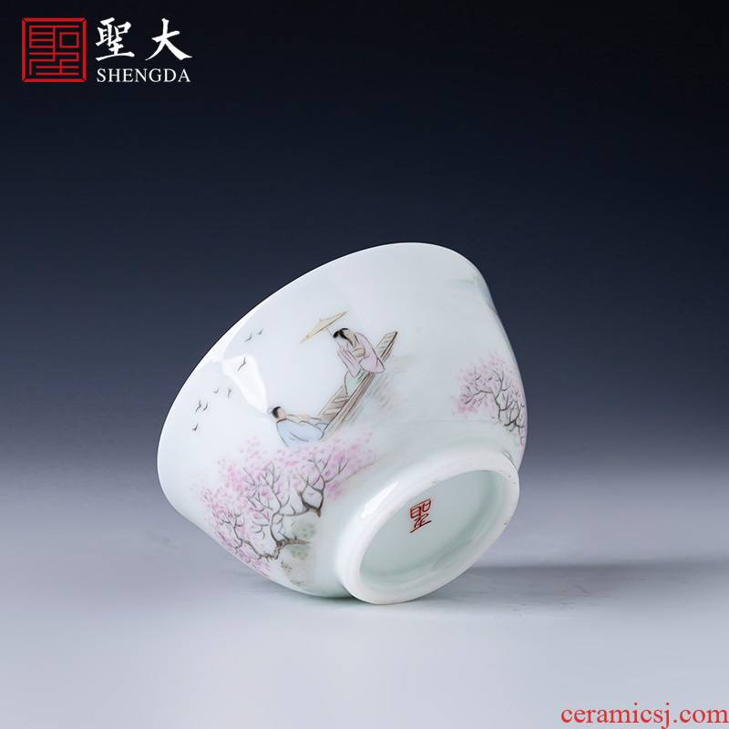 Santa teacups hand - made ceramic kung fu new see peach blossom put characters master cup all hand jingdezhen tea sample tea cup