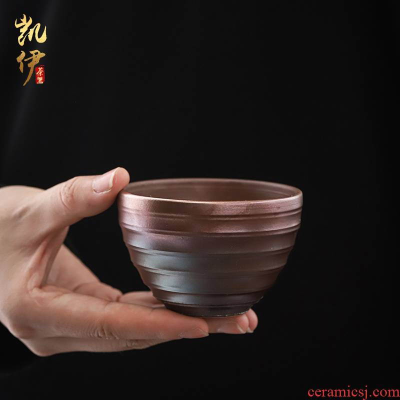 Patrick ho chi - ping firewood coarse pottery tea light boring grain cup checking ceramic kung fu tea cups with high temperature glaze firewood master CPU