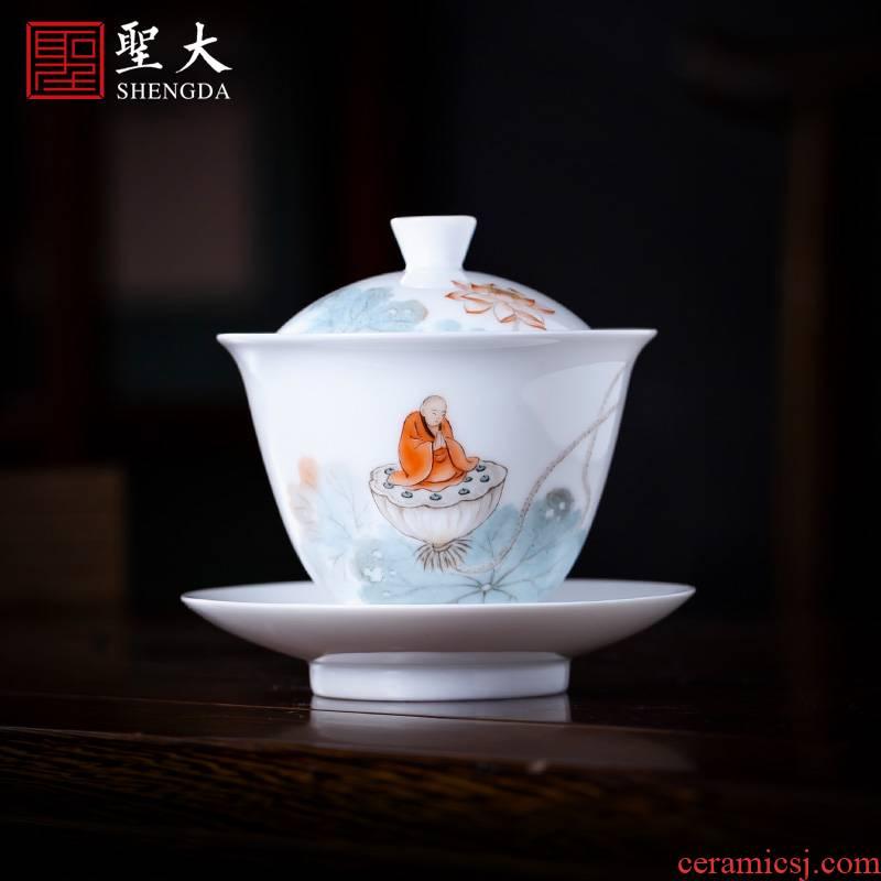 The large ceramic three new color figures make tea tureen teacups hand - made jingdezhen all hand tea tea cups