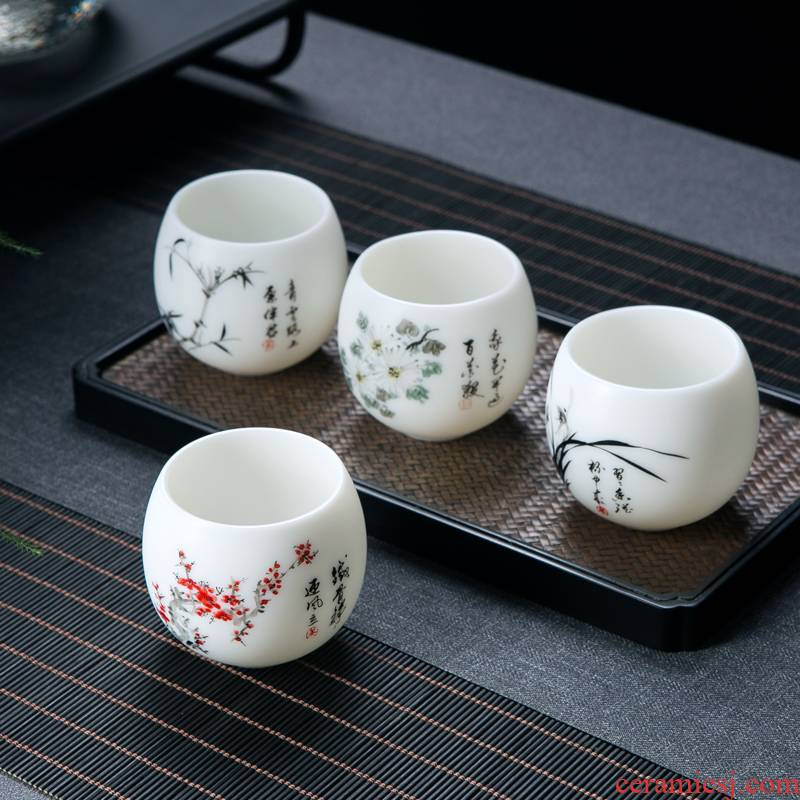 Jingdezhen ceramic cups personal special man master cup tea high - end gift box suet jade hand sample tea cup