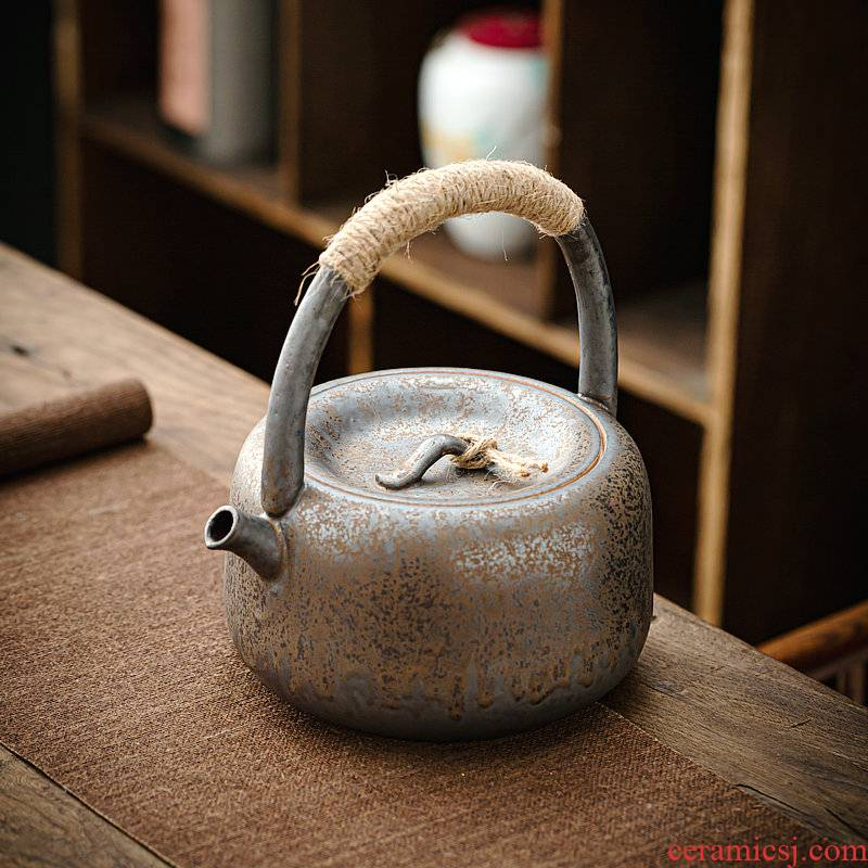 Japanese coarse pottery charcoal cooking pot round grain charcoal'm pot of gold 秞 girder pot of tea kettle restoring ancient ways large twine