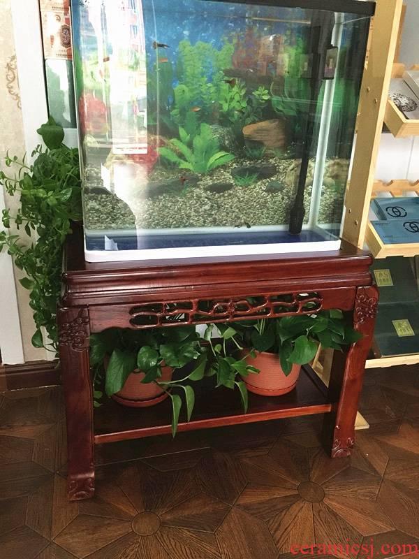 Solid wood aquarium fish tank base shelf small aquarium the plants old elm bottom ark home sitting room ground ark