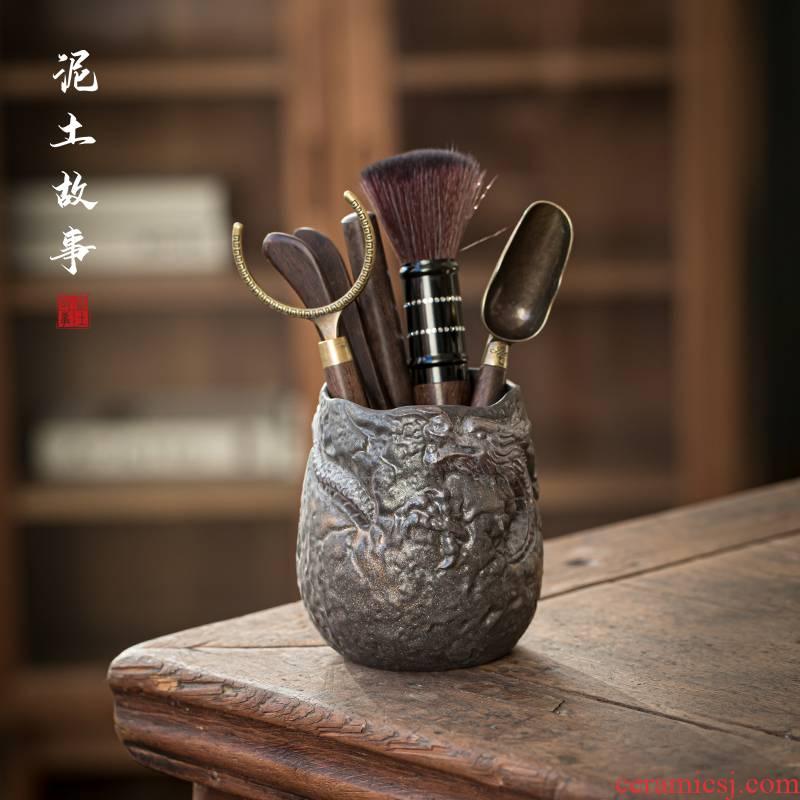 Coarse pottery gold tea six gentleman ChaGa YangHuBi stainless steel teaspoons ChaZhen household utensils bamboo wood accessories