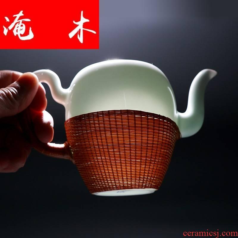 Submerged wood jingdezhen ceramic tea set home little teapot checking bamboo has tea white porcelain contracted kunfu tea