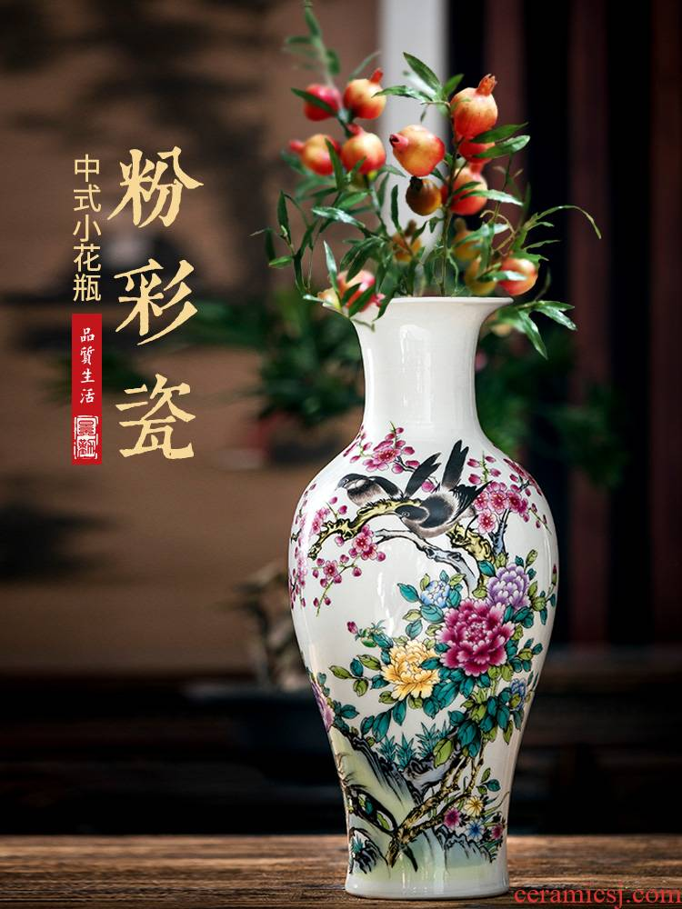 Jingdezhen ceramic dry flower vase sitting room, modern household act the role ofing is tasted furnishing articles flower arranging Chinese TV ark, small handicraft