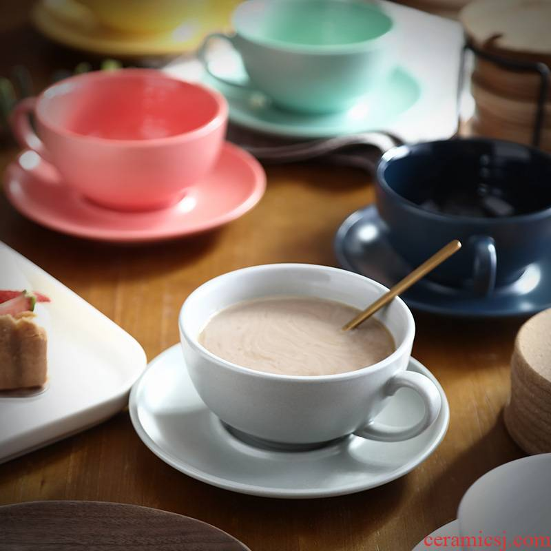 Creative contracted color matte enrolled porcelain coffee cup keller breakfast cup picking cups of coffee cup set
