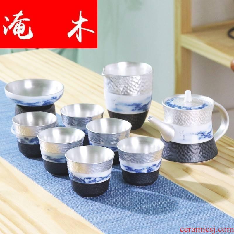 Submerged wood jingdezhen 999 sterling silver tea tureen fair keller cup ceramic Japanese household coppering. As silver tea set gift box