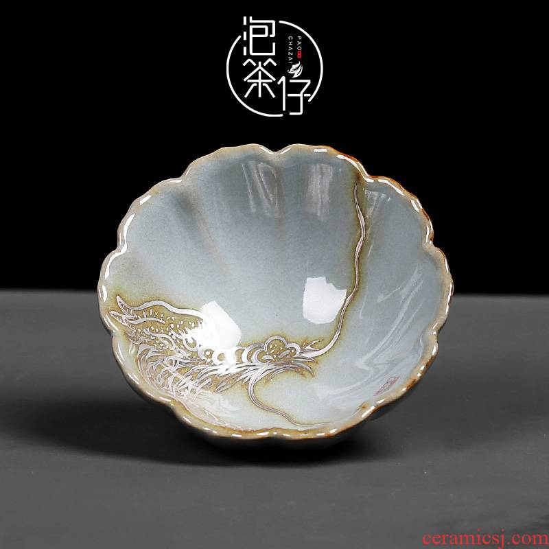 Your up ice cracked piece of large master single glass ceramic cups kung fu tea set sample tea cup hand - made longfeng cup by hand
