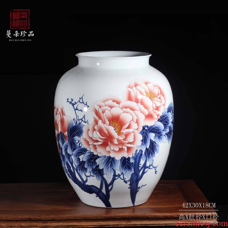 Jingdezhen 30-40 high peony pomegranate spherical ceramic vase color blue and white peony blooming flowers, ceramic bottle