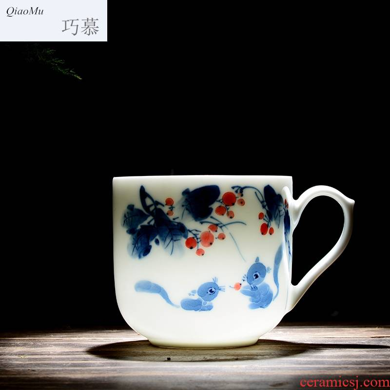 Qiao mu jingdezhen ceramic tea cup with cover cups filter office hand - made tea tea cup