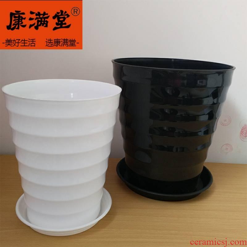 Super large green flowerpot thickening heightening black white plastic imitation ceramic round thread resin flower pot pot