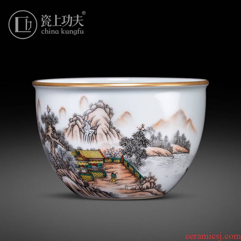 Porcelain kung fu hand - made color ink landscape attic kung fu masters cup tea cup single CPU jingdezhen high - end use