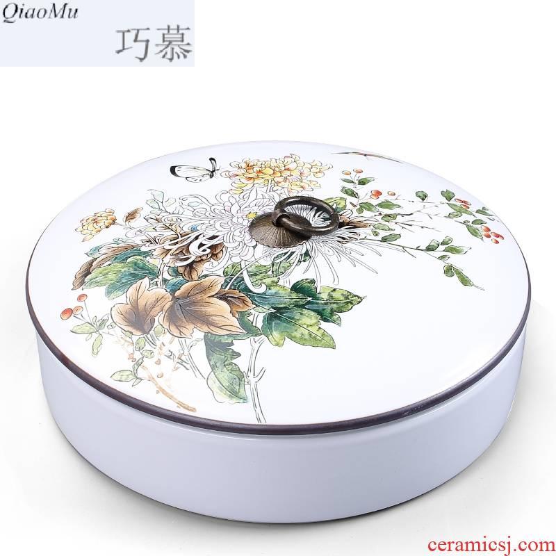 Qiao mu ceramic tea box of white tea is tea cake tin box packing box size seven loaves pu 'er tea pot