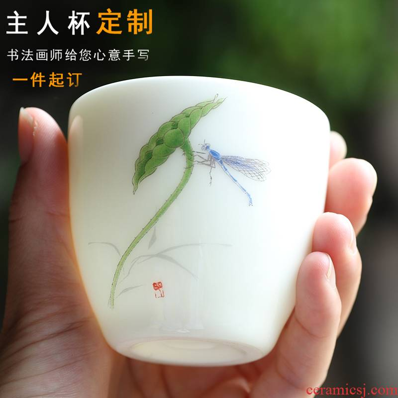 Hand - made suet jade master cup single CPU getting white porcelain bowl with large ceramic cups kung fu household individual sample tea cup