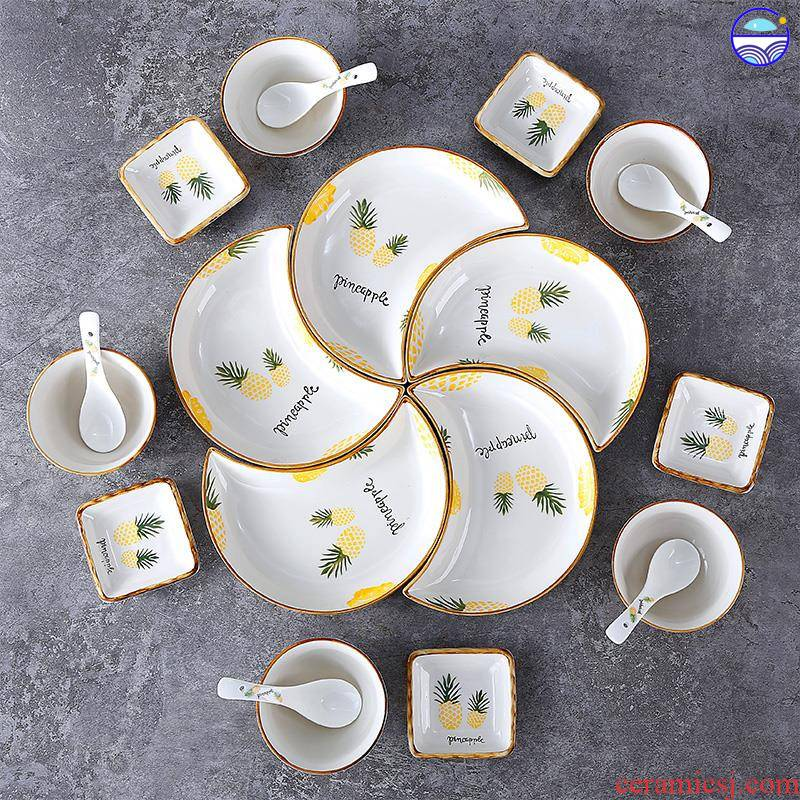 0 reunion the small dish platter household tableware suit creative Chinese New Year dinner dinner ceramic plates