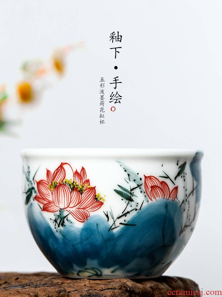 Jingdezhen hand - made lotus masters cup kung fu tea cup pure manual white porcelain sample tea cup single ceramic bowl
