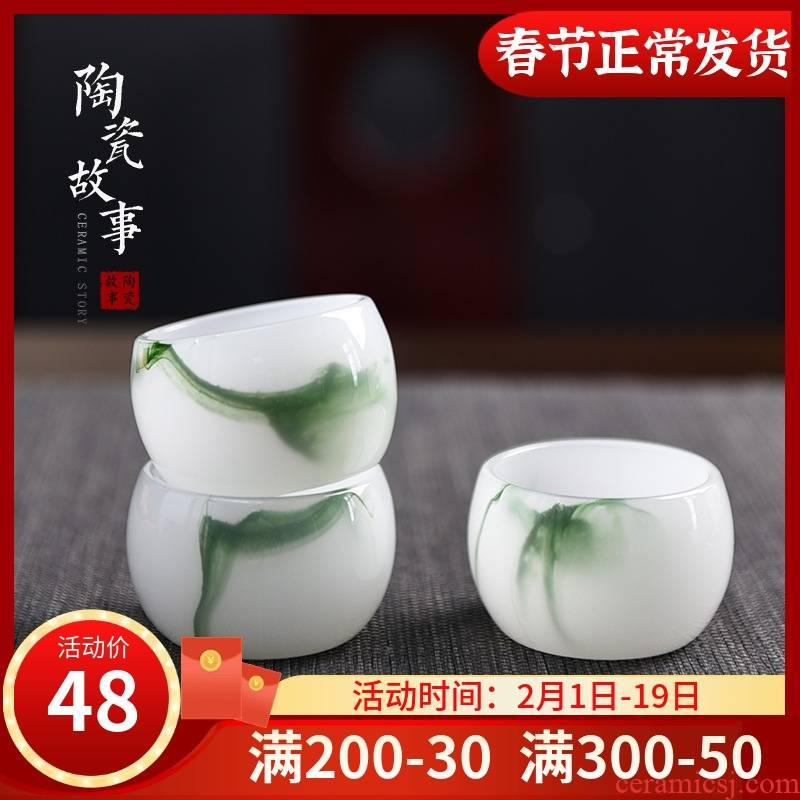 Ceramic story kung fu tea sample tea cup glass cup pure manual white porcelain master cup single cup small tea tea set