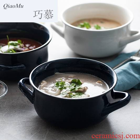 Qiao mu ceramic ears rainbow such as bowl bowl of high temperature resistant mercifully household soup bowl round snack bowl of salad bowl for the job