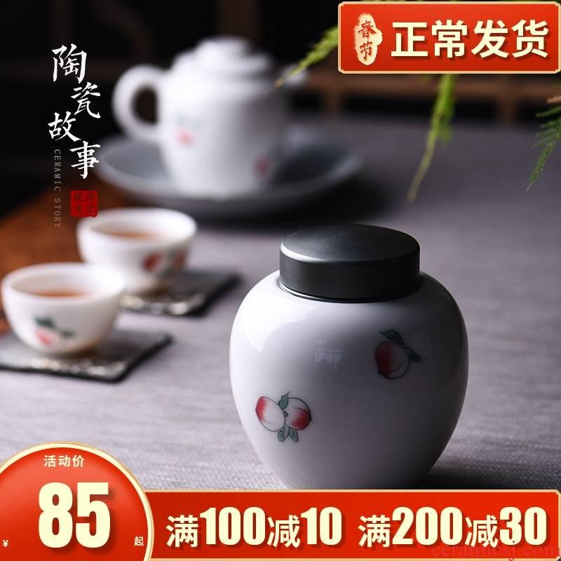 White porcelain ceramic story black tea, green tea tea caddy fixings alloy lid seal wake receives general storage tanks