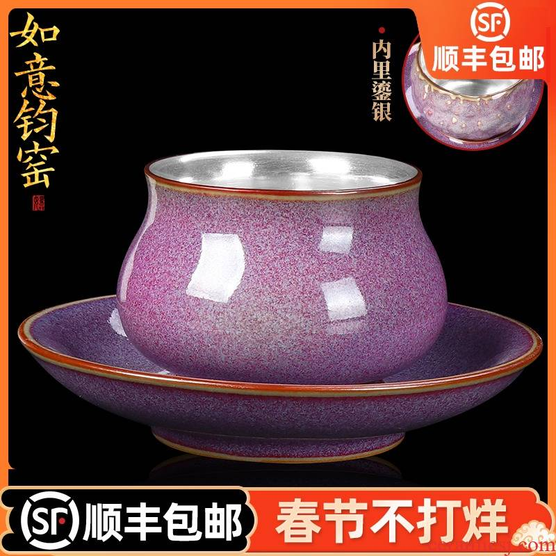 Artisan fairy tea tasted silver gilding ceramic cups masterpieces of household pure manual with cups and saucers master cup sample tea cup single CPU