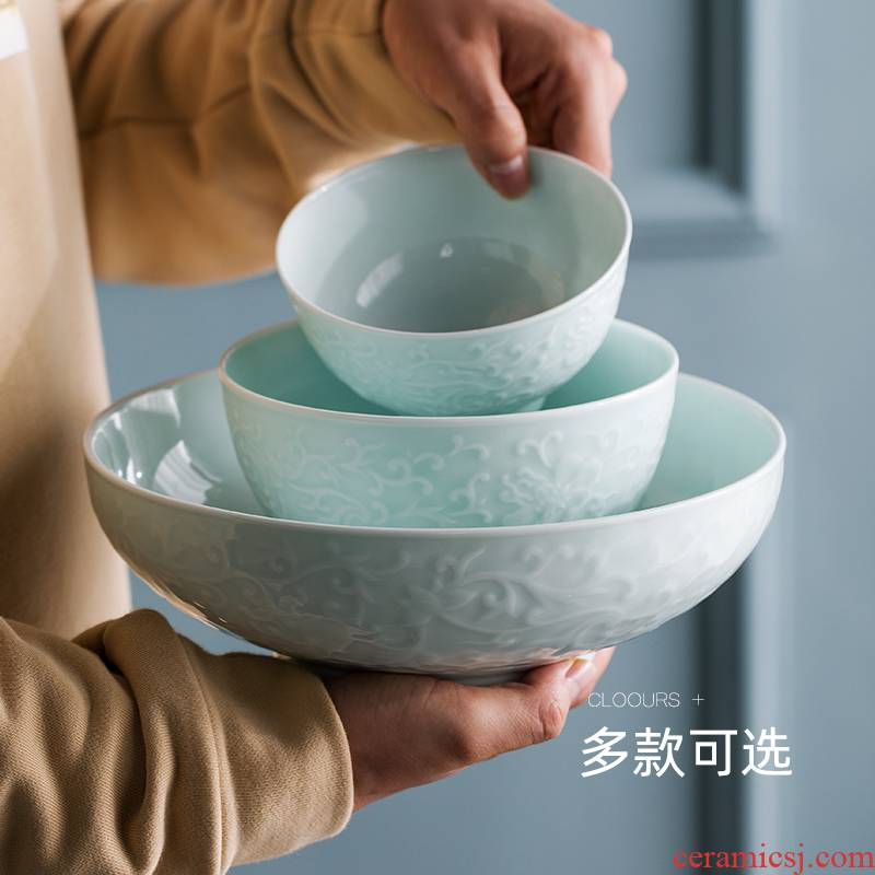 Jingdezhen shadow green bowl bowl spoon, ceramic tableware dishes suit household tableware suit